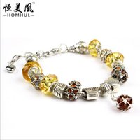 amber jewellery sets - 10 colors cm NEW Arrival Fashion European Style Silver Charm Bracelet with amber Murano Glass Beads DIY Fashion Jewellery