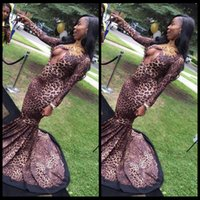 african black leopard - Sexy African Prom Dress Long Sleeve Pluning V Neck Leopard Mermaid Dresses Party Evening Wear With Lace Applique