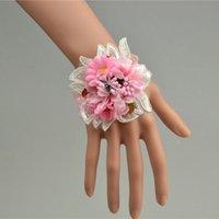 al por mayor accesorios de la dama de honor de la boda de la mano-2016 nueva boda brazaletes de la mano de la dama de honor flores brazalete de la muñeca flores artificiales flores decorativas pulsera accesorios de la boda