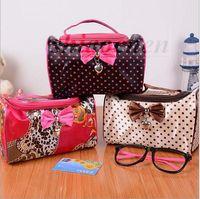 Wholesale Pillow bowknot Storage bag Dot Cosmetics bag Fashion makeup bag handbag organizer Waterproof Cosmetic Cases Hot Beauty Bag Wash Bag A157