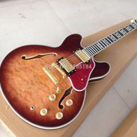 venda por atacado electric mop-Custom Shop 1963 ES 35 50th Semi oca do corpo cereja Guitarra elétrica Qulited bordo Top ouro Abalone Hardware embutimento MOP