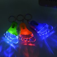 big foot car - 50pcs Colour Car LED Key Chain Ornament Big Feet Shaped Children Gifts Key Ring Toys