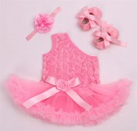 Wholesale Baby Clothing Sets Infant Flower Lace Tutu Romper Dress Jumpersuit Headband Shoes Set Bebe First Birthday Costumes girl tutu skirt
