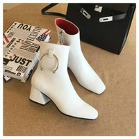 ankle cuff heels - Brand Design Winter Boots Chunky High Heel Zip Cuff Genuine Leather Ankle Short Boots Women Shoes Boots Sz
