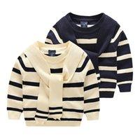 Wholesale New arrival Kids sweaters Boys striped Halter Pullover children Autumn winter o neck cotton knitwear Navy beige