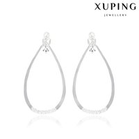 Wholesale Manmade Pearl Ear Cuff for Lady White Little Zirconia Big Hoop Copper Clip On Earrings With Rhodium Plated Fashion Jewelry from Xuping Brand