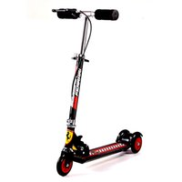 Wholesale Official Ferrari Kids Wheel T Bar Folding Scooter Rosso Red Colors Large Wheels Adjustable Height Scooters with Hand Brake FXK17