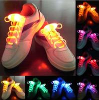 Wholesale Cool LED Flash Light Up Shoelaces Glow Stick Strap Shoelaces Xmas Decor Shoestring Disco Party Skating bling lighting shoes laces Gift