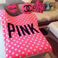 Wholesale 2016 women Pink love VS Blanket Manta Fleece Blanket Throws on Sofa Bed Plane Travel Plaids Hot Limited Battaniye cmx160cm