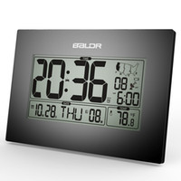atomic clock led - Baldr Stylish Modern Office Tabletop CLock WWVB Atomic PMCE Time Zone Clocks Calendar and Temperature Alarm Desk Clock