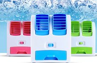 battery time left - USB Mini portable air conditioning fan small fan rechargeable students small office desktop without leaves refrigeration