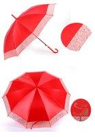 Wholesale Lace wedding wedding bride umbrella umbrella red festive wedding bridesmaid long handle craft umbrella cheap beautiful
