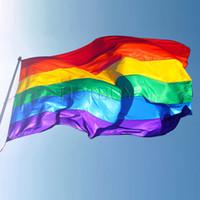 banner decorations - Rainbow Flag x5FT x150cm Lesbian Gay Pride Polyester LGBT Flag Banner Polyester Colorful Rainbow Flag For Decoration X FT