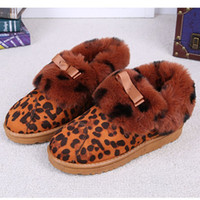 animal cost - Loepard Print Flat Heel Warm Snow Pumps Winter Shoes Warm Slippers Fashion Low Cost For Lady Household Shoes With Five Colors DZP013