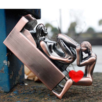 Wholesale Creative Man with Lady sex Cigarette Gas Lighter Funny Sex Furnishing Articles Windproof Cigarette Lighter