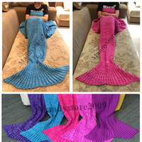 Wholesale Kintted Mermaid Blankets x90cm Adults Mermaid Tail Blanket Super Handmade Crochet Soft Warmer Blankets Bed Sleeping Costume Knit Blanket