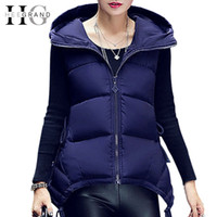 Wholesale HEE GRAND Long Vest Women New Fashion Winter Vests Ladies Hooded Solid Slim Coats Coletes Femininos Outerwear WWV182