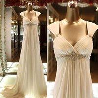 Wholesale 2016 Cheap Maternity Pregnant Wedding Dresses Empire Portrait Beach Fancy Crystal Custom Made Chiffon Long Train Bridal Gowns
