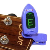 Wholesale Aroma Mini Clip on LCD Guitar Tuner Degree Rotatable Clip on for Bass Guitar Chromatic Violin and Ukulele AT Blue