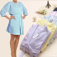 bathrobe plus size - Sexy Women s Kimono Robes Plus size Bridesmaids Robes Waffle Weave Bathrobe sleepwear Dress Gowns for Women Pajamas Nightgown