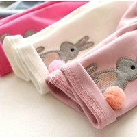 Wholesale Autumn Girl Leggings Thick Warm Pants Years Baby Girls Cartoon Rabbit Pants Leggings Christmas Kids Winter Trousers