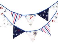 achat en gros de tissu étamine bannière-Nouveau arrivent 12 drapeaux 3.2m pirate thème tissu de coton Bunting drapeaux fanion Banner garland mariage / anniversaire / baby shower Party Decoration