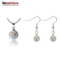 Wholesale LZESHINE Big Promotion Jewelry Shamballa Jewelry Set Pendant Drop Earrings Women Jewelry Set JST0008mix1