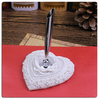 Wholesale White elegant rose feather pen holder for wedding company