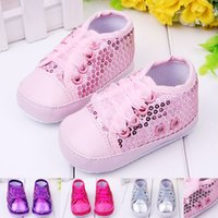 air vent cap - Baby Girl Shoes Sequins Upper Lace Band Air Vent Design Leather Toe Cap Soft Sole Infant Walking Shoes