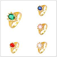Wholesale Wedding Luxury Brand K Gold Plated Rings Simulated Diamond AAA CZ Recommend Promotion Favourite Jewelry Copper Hot Sales