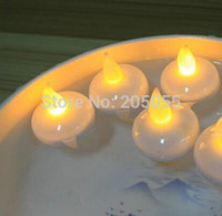 battery operated tapered candle - 50pcs Flameless LED Floating tealight candle tea light battery operated wedding Xmas Holiday party centerpiece Decor warm white