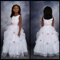 adorn purple - White Scoop Flower Girls Dresses Draped Organza Pink Flowers Adorned Floor Length Formal Kids Wedding Wear