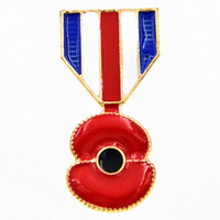badge china - Gold Plated UK Hot Selling Poppy Flower Brooch The British Legion Badge Elegant Poppy brooch Souvenir For British Remembrance Day