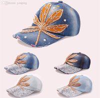 Precio de Vaqueros de las muchachas populares-Al por mayor-venta al por mayor del casquillo del Snapback de las n populares chicas de cristal mujeres casquillo diamante Jeans casquillo de hip hop de béisbol sombreros de las mujeres