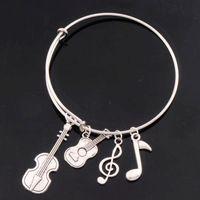 ani music - 7Styles hot Alex Ani Bangles Music Note Guitar Bracelets Expandable Wire Bracelets Fashion Jewelry Hot sell