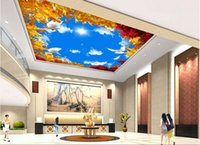 autumn wallpaper pictures - 3d wallpaper custom photo non woven picture Golden autumn wutong leaves ceiling murals decoration painting d wall room murals wallpaper