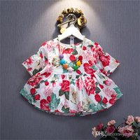 Wholesale Hug Me Baby Girls Flower Shirts Baby Girl Clothes Cotton Kids Short Sleevve Fashion Blouses O Neck Child Tops cm cm