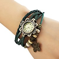 assorted watch batteries - Women s Butterfly Pendant Leather Band Quartz Analog Bracelet Watch Assorted Colors Cool Watches Unique Watches Fashion Watch