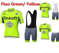 Wholesale 2016 Saxo Bank Tinkoff Cycling Clothing Short Sleeve Cycling Jerseys Fluo Green Colors For Men Women MTB Road Riding Wear