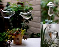 Wholesale Glass Self Watering Durable Transparent Plant Watering mushroom hand made Garden watering equipment