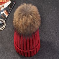 Wholesale mink and fox fur ball cap pom poms winter hat for women wool hat knitted cotton beanies cap brand new thick female cap