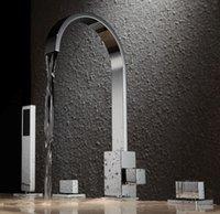 Wholesale Bathroom bathtub Mixer Spout shower Brass Body With put out brass Handle ShowerTap Bathtub Faucet Set BF101