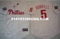 baseball pat - Deluxe Edition Mens Retro World Series Jersey Philadelphia Phillies Pat Burrell Baseball Jerseys Embroidery Jerseys