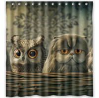 Wholesale Vintage Painting Cats Owl Funny Fabric Modern Classical Custom180x180cm Shower Curtain bathroom Waterproof Eco Friendly