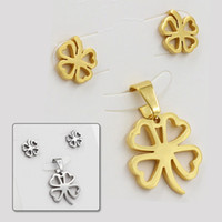 Wholesale promotion new design fashion lucky four leaf clover L stainless steel african wedding gold jewelry sets with