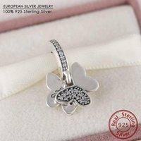 Wholesale Authentic Spring Collection Fluttering Butterflies with Cz Pendant Sterling Silver Pendant for women beads bracelet necklace pendant DIY