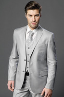 Wholesale New Arrivals Two Buttons Light Grey Groom Tuxedos Notch Lapel Groomsmen Best Man Wedding Prom Suits Jacket Pants Vest Tie