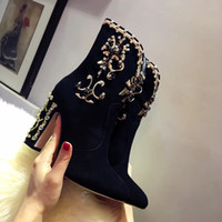 animation show light - Ladies ankle boots fasion show item hot sale all material best hand sowed with diamond sheepskin on vamp and insdie genuine leather tread