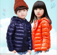 Wholesale 2016 New Children Down Jackets Girl Boy Ultra light Sport White Duck Down Coat Kids Baby Outwear Hooded Slim Portable Unisex Colors