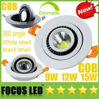Cheap 360 angle CREE 9W 12W 15W COB LED Downlights+ Dimmable  Non Power Supply 110-240V Fixture Cabinet Recessed Ceiling Spot Down Lights Lamps UL